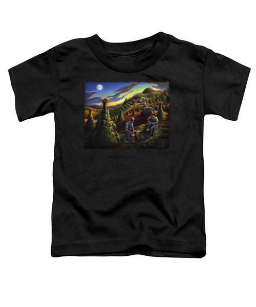 Autumn Farmers Shucking Corn Appalachian Rural Farm Country Harvesting Landscape - Harvest Folk Art Toddler T-Shirt by Walt Curlee