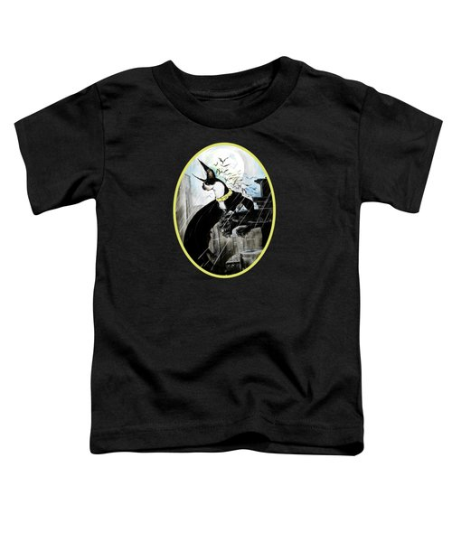 Batman Boston Terrier Caricature Art Print Toddler T-Shirt