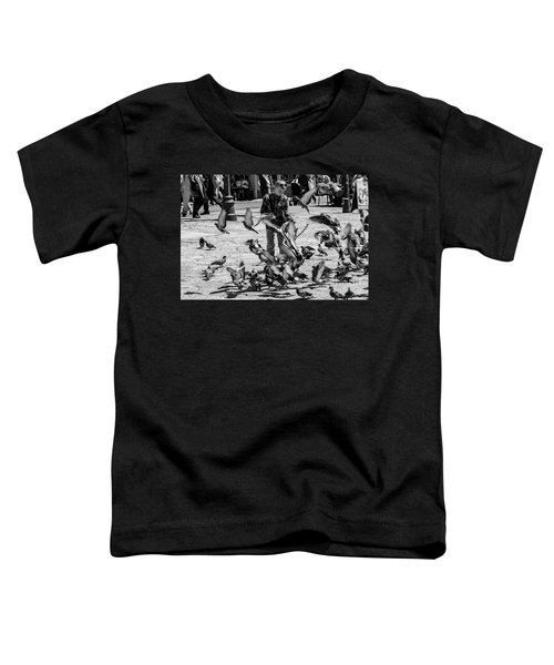 Black And White Of Boy Feeding Pigeons In Sarajevo, Bosnia And Herzegovina  Toddler T-Shirt