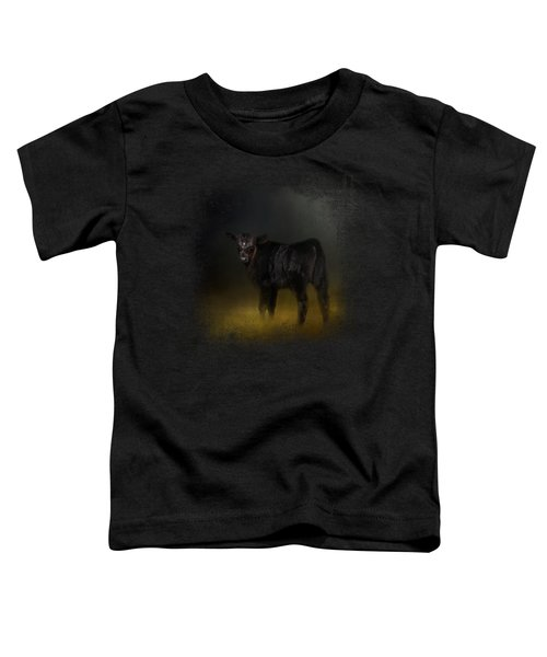 Black Angus Calf In The Moonlight Toddler T-Shirt by Jai Johnson