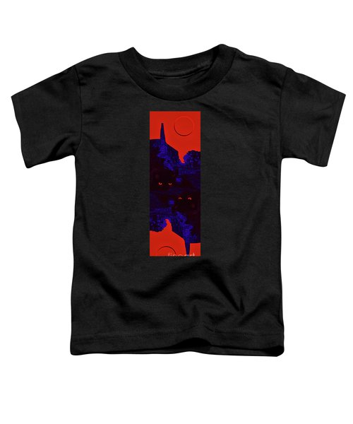 Black Cat Under A Blood Red Moon Toddler T-Shirt