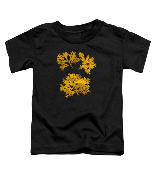 Toddler T-Shirt featuring the mixed media Black Gold Leaf Pattern by Christina Rollo