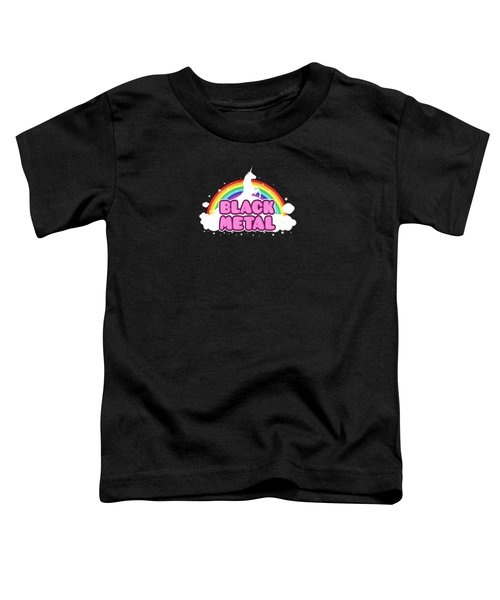 Black Metal Funny Unicorn / Rainbow Mosh Parody Design Toddler T-Shirt by Philipp Rietz