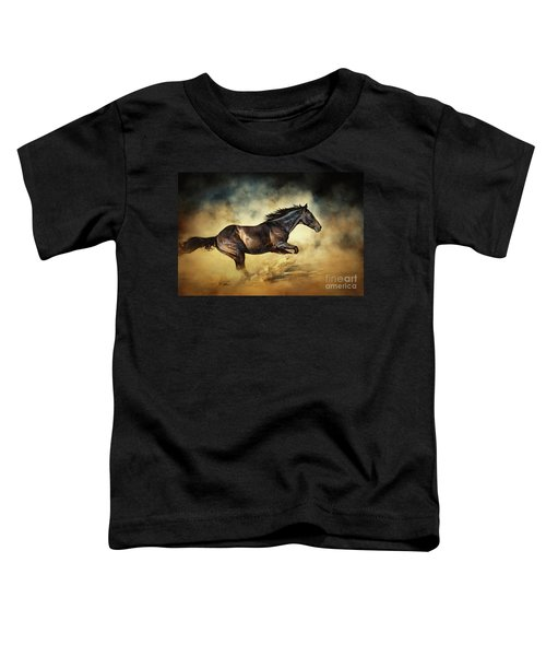 Black Stallion Horse Galloping Like A Devil Toddler T-Shirt