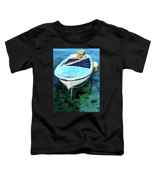 Blue And White Fishing Boat On The Adriatic - Rovinj, Croatia Toddler T-Shirt