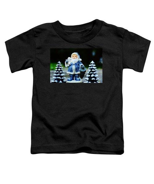Blue Santa Christmas Card Toddler T-Shirt by Bellesouth Studio