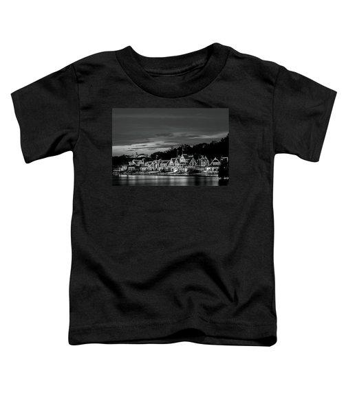 Boathouse Row Philadelphia Pa Night Black And White Toddler T-Shirt