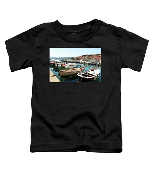 Toddler T-Shirt featuring the photograph Boats In The Harbour by MGL Meiklejohn Graphics Licensing