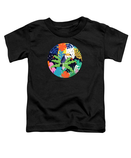Bold Tropical Jungle Abstraction With Toucan Memphis Style Toddler T-Shirt
