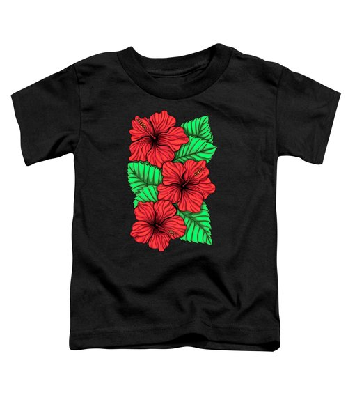 Bouquet Of Hibiskus Flower And Tropical Leaves Toddler T-Shirt