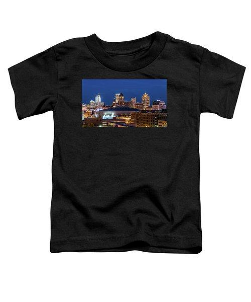 Brew City At Dusk Toddler T-Shirt by Randy Scherkenbach