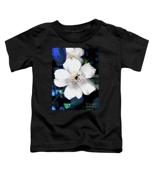 Bright Blue Accents White Vinca Toddler T-Shirt