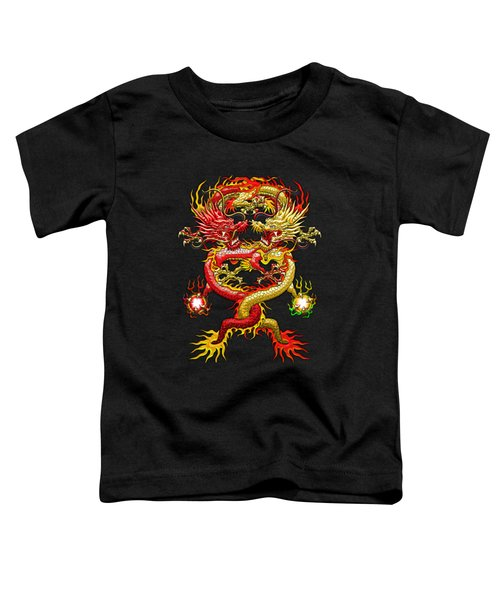 Brotherhood Of The Snake - The Red And The Yellow Dragons On Red And Black Leather Toddler T-Shirt by Serge Averbukh