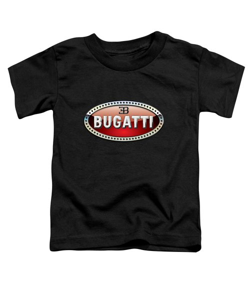 Bugatti - 3 D Badge On Black Toddler T-Shirt by Serge Averbukh