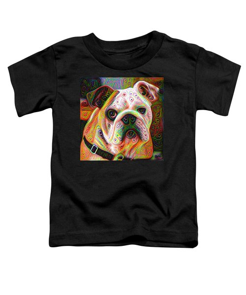 Bulldog Surreal Deep Dream Image Toddler T-Shirt by Matthias Hauser
