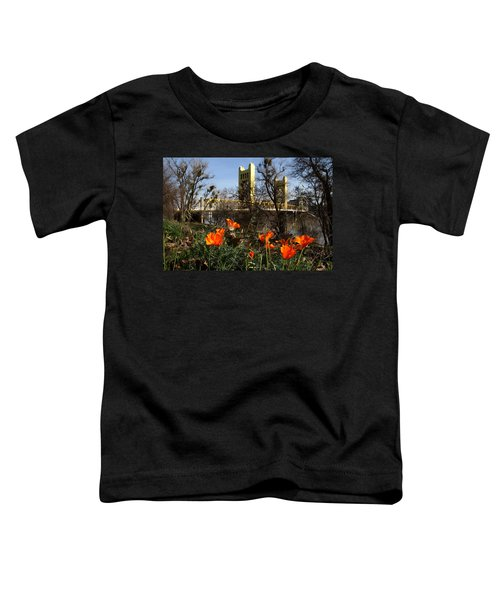 California Poppies With The Slightly Photographically Blurred Sacramento Tower Bridge In The Back Toddler T-Shirt