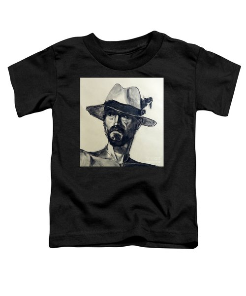 Charcoal Portrait Of A Man Wearing A Summer Hat Toddler T-Shirt