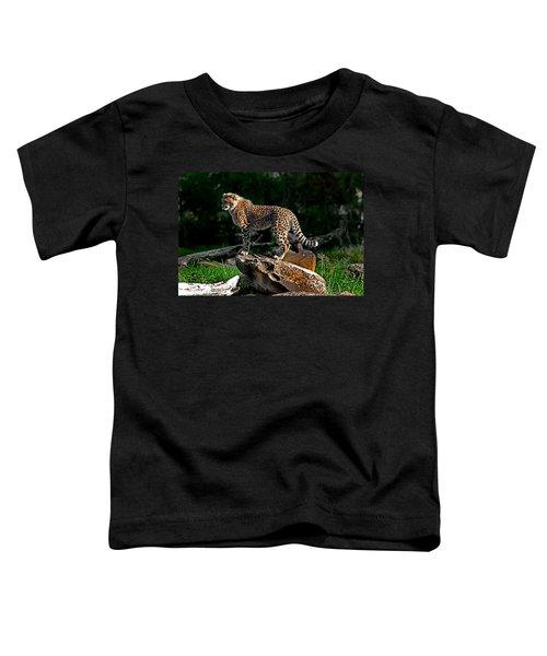 Cheetah Cub Finds Her Pride Rock Toddler T-Shirt by Miroslava Jurcik