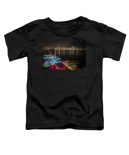 Chicago Skyline With Pixel Stick Painting Toddler T-Shirt
