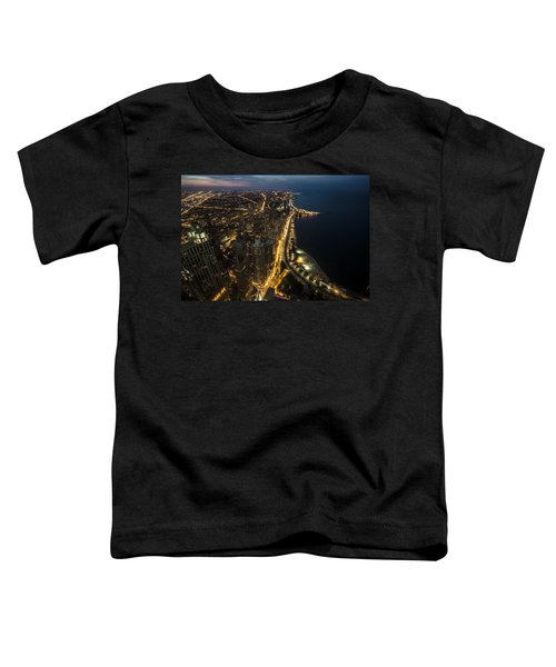 Chicago's North Side From Above At Night  Toddler T-Shirt