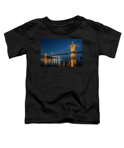 Cincinnati's Roebling Suspension Bridge At Dusk Toddler T-Shirt