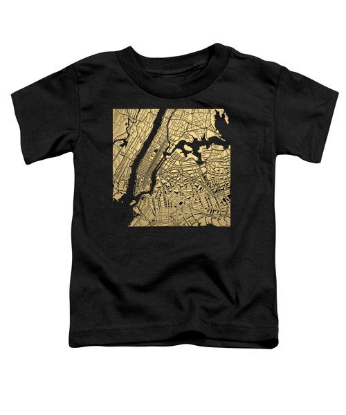 Cities Of Gold - Golden City Map New York On Black Toddler T-Shirt