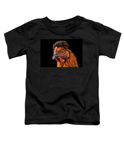 Closeup Ginger Chicken Isolated On Black Background In Profile View Toddler T-Shirt