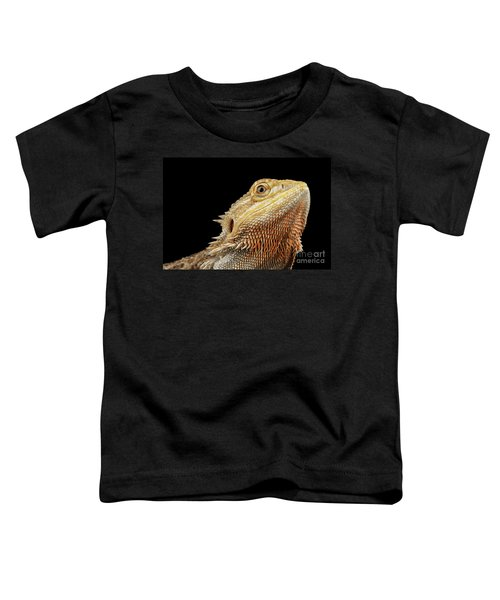 Closeup Head Of Bearded Dragon Llizard, Agama, Isolated Black Background Toddler T-Shirt