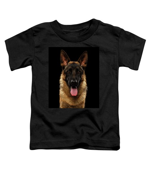 Closeup Portrait Of German Shepherd On Black  Toddler T-Shirt