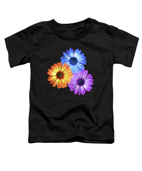 Colorful Daisies With Water Drops On Black Toddler T-Shirt