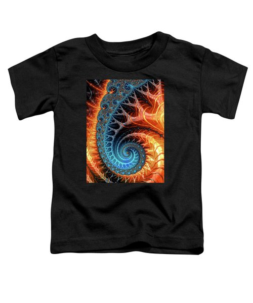 Colorful Luxe Fractal Spiral Turquoise Brown Orange Toddler T-Shirt