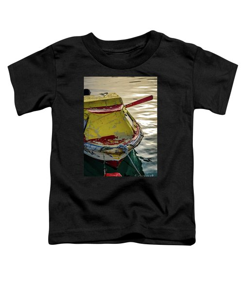 Colorful Old Red And Yellow Boat During Golden Hour In Croatia Toddler T-Shirt