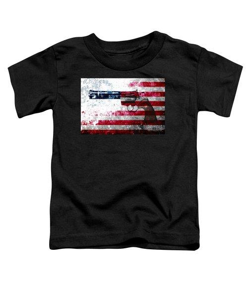 Colt Python 357 Mag On American Flag Toddler T-Shirt