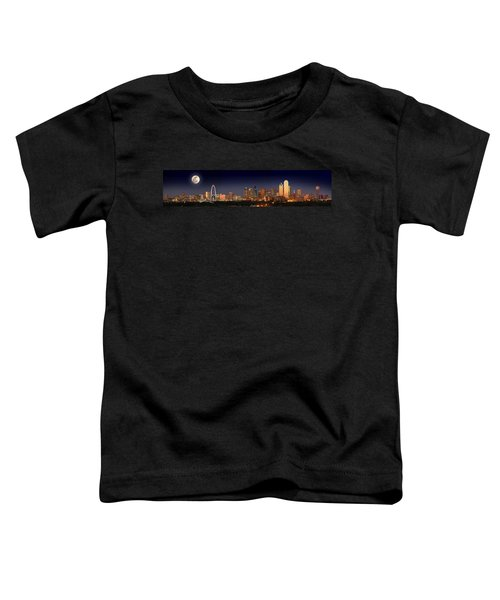 Dallas Skyline At Dusk Big Moon Night  Toddler T-Shirt