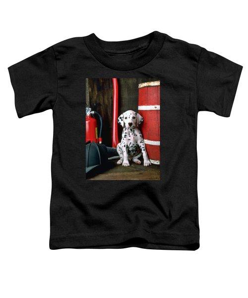 Dalmatian Puppy With Fireman's Helmet  Toddler T-Shirt