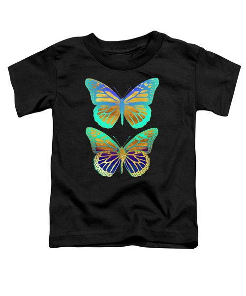 Danaus Plexippus Psychedelicus I, Pop Art Gold Psychedelic Butterflies Toddler T-Shirt