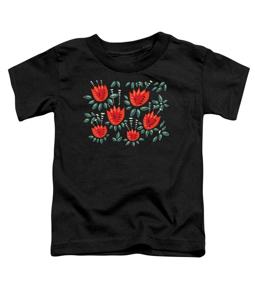 Dark Floral Pattern Of Abstract Red Tulips Toddler T-Shirt