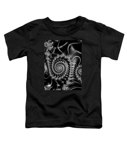 Dark Spirals - Fractal Art Black Gray White Toddler T-Shirt