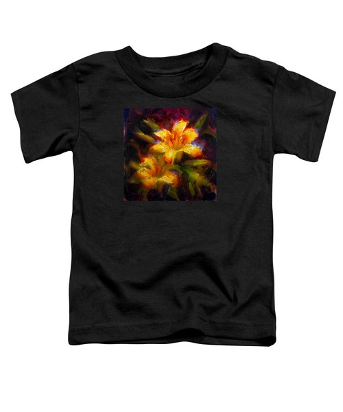 Daylily Sunshine - Colorful Tiger Lily/orange Day-lily Floral Still Life  Toddler T-Shirt
