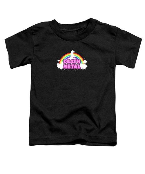 Death Metal Funny Unicorn  Rainbow Mosh Parody Design Toddler T-Shirt by Philipp Rietz