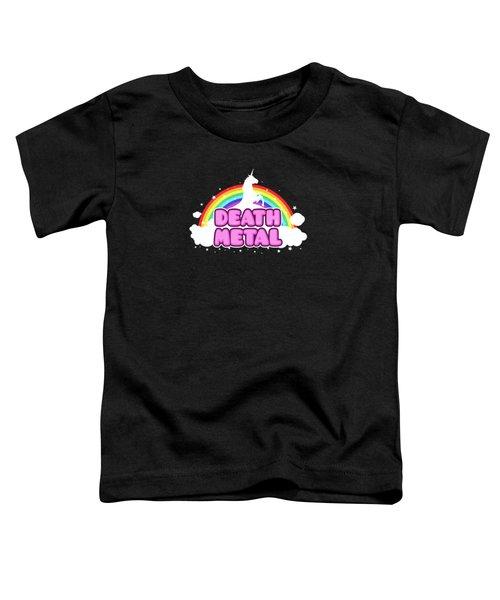 Death Metal Funny Unicorn  Rainbow Mosh Parody Design Toddler T-Shirt