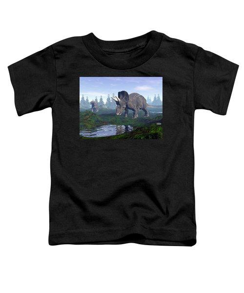 Diceratops Dinosaurs In Mountain - 3d Render Toddler T-Shirt
