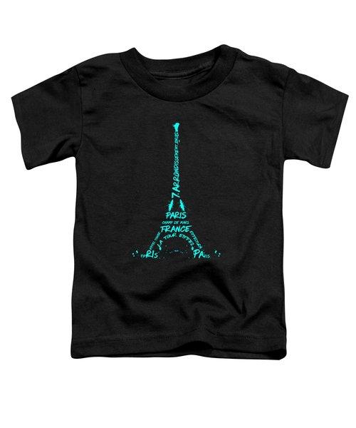 Digital-art Eiffel Tower Cyan Toddler T-Shirt by Melanie Viola