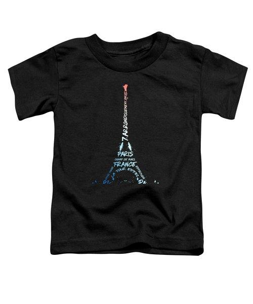 Digital-art Eiffel Tower National Colours Toddler T-Shirt by Melanie Viola