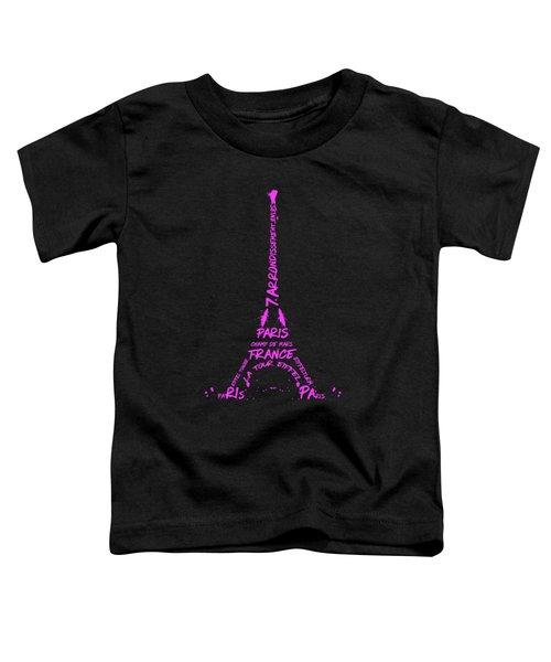 Digital-art Eiffel Tower Pink Toddler T-Shirt by Melanie Viola