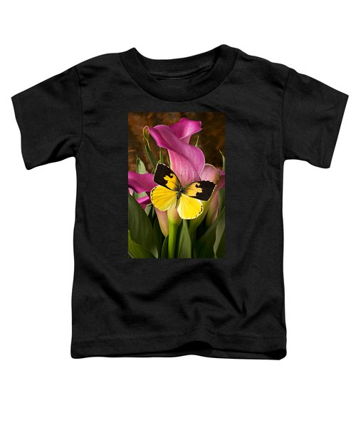 Dogface Butterfly On Pink Calla Lily  Toddler T-Shirt
