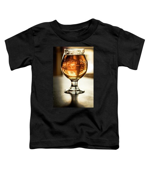 Downtown Waukesha Through A Glass Of Beer At Bernie's Taproom Toddler T-Shirt