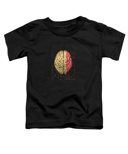 Dualities - Half-gold Human Brain On Black And White Canvas Toddler T-Shirt