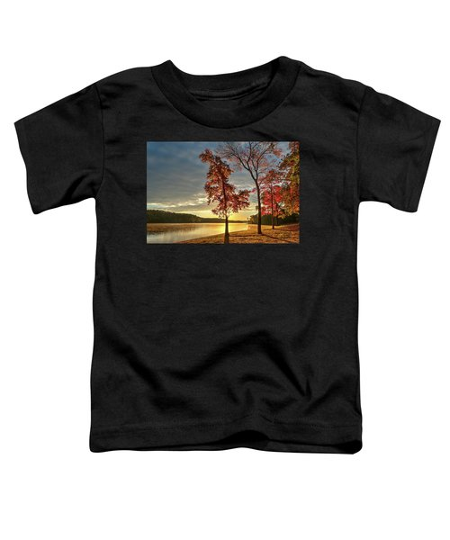 East Texas Autumn Sunrise At The Lake Toddler T-Shirt