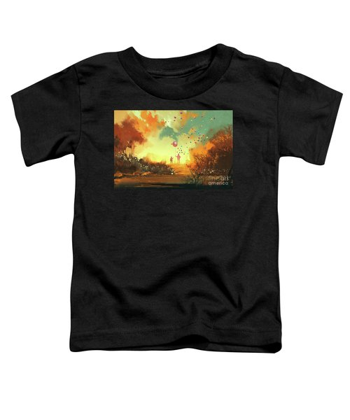 Toddler T-Shirt featuring the painting Enter The Fantasy Land by Tithi Luadthong